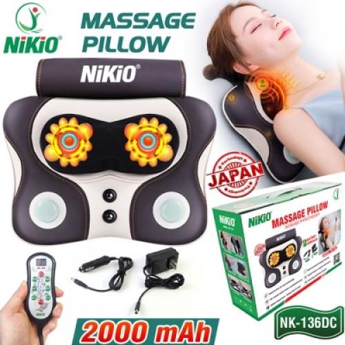Review Máy massage đấm bóp cổ vai gáy, lưng cao cấp Nikio NK-136DC - Pin sạc