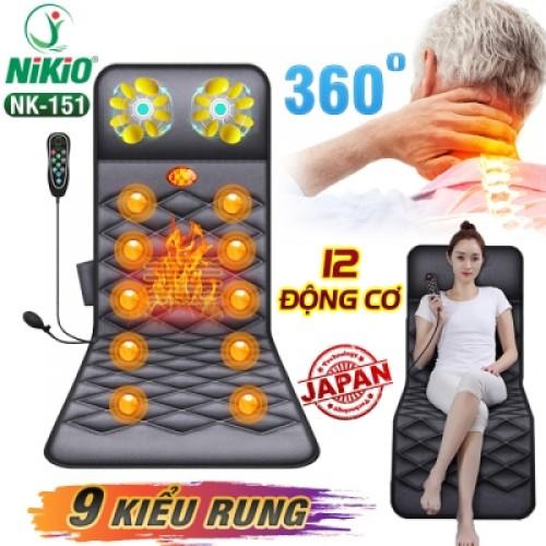 REVIEW Nệm massage toàn thân xoay, nhiệt, rung có gối mát xa cổ Nikio NK-151